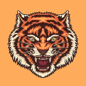 Colorful angry tiger head illustration