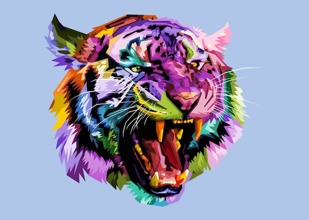 Colorful angry tiger on pop art style.