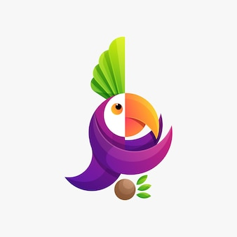 Colorful animal parrot logo illustration vector template