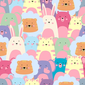 Colorful animal seamless pattern