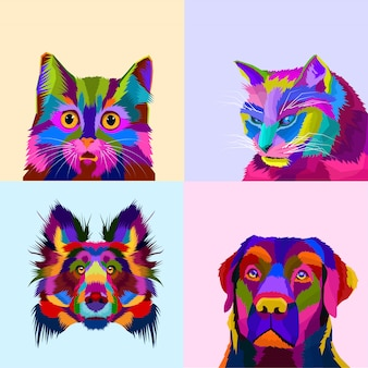 Colorful animal set dog and cat pop art style