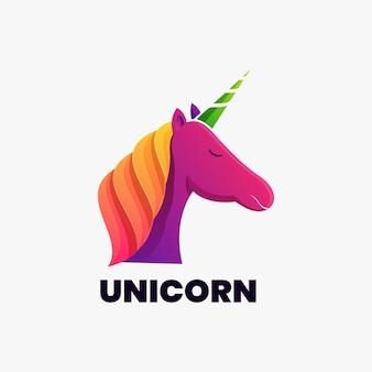 다채로운 동물 유니콘 로고 일러스트 벡터 템플릿