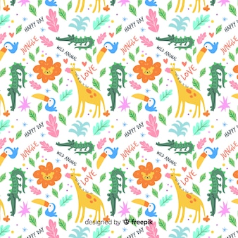 Colorful animals seamless pattern