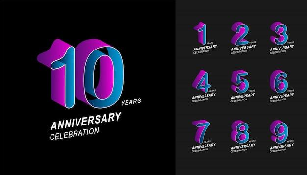 Colorful anniversary celebration design set.