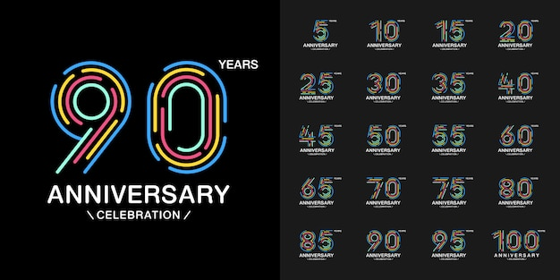 Colorful anniversary celebration logotype set.