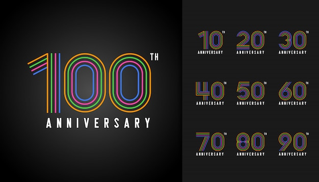 Colorful anniversary logotype set.