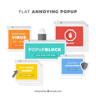 Colorful annoying pop ups with flat design