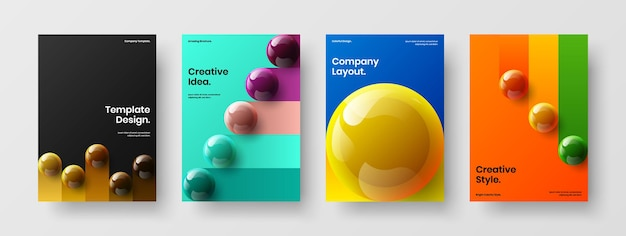 Colorful annual report a4 design vector layout collection