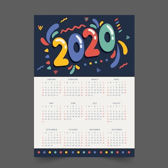 Colorful annual schedule calendar