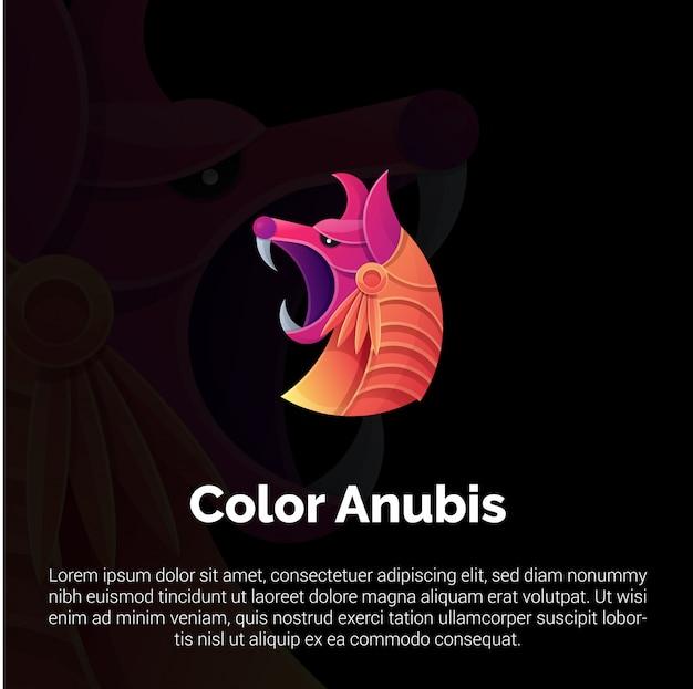 Красочный шаблон логотипа анубис