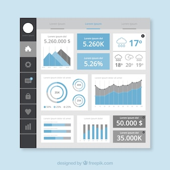 Colorful app dashboard with flat design