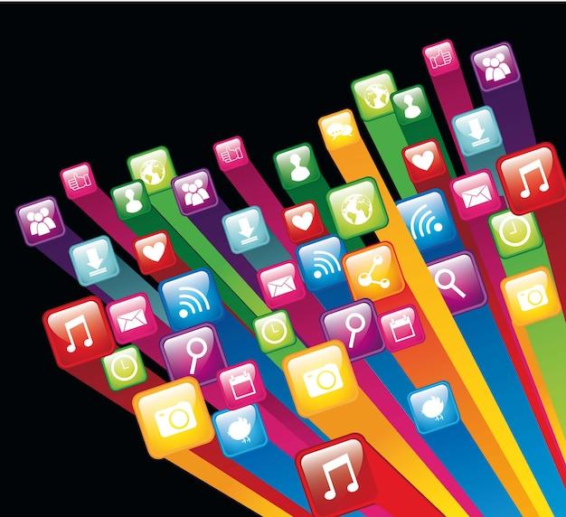 Colorful app store over black background vector illustration