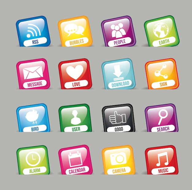 Colorful apps over gray background app store vector