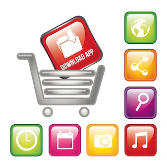 Colorful apps with shopping cart app store vector illustration