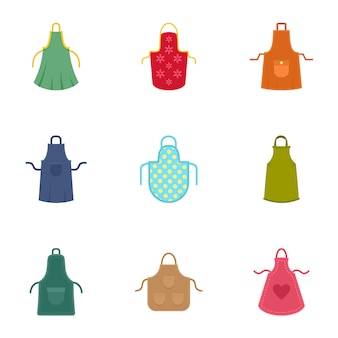 Colorful apron icon set, flat style