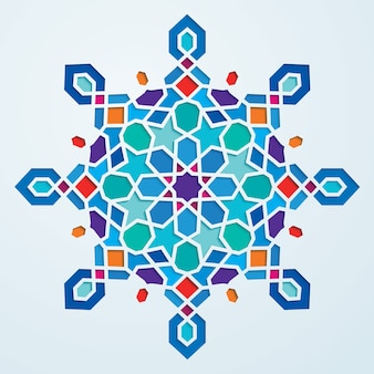 Colorful arabic geometric pattern round ornate