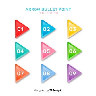 Colorful arrow bullet point collection