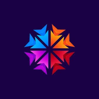 Colorful arrow for business community logo design