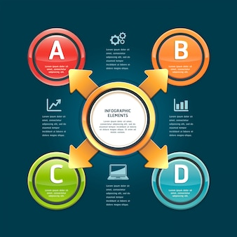 Colorful arrow circle options for workflow layout, diagram, infographic