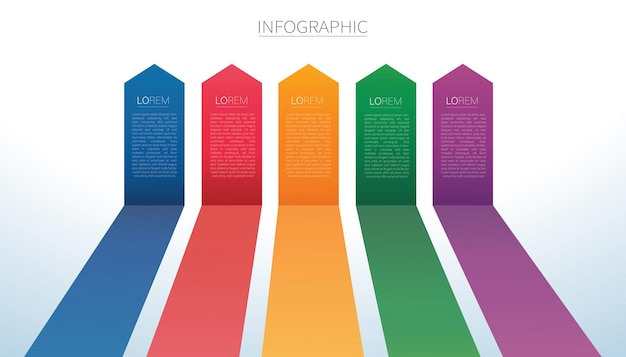 Colorful arrow lines infographic 5 options background