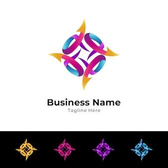 Colorful arrow logo template