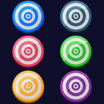 Colorful arrow target board bullseye element icon game asset