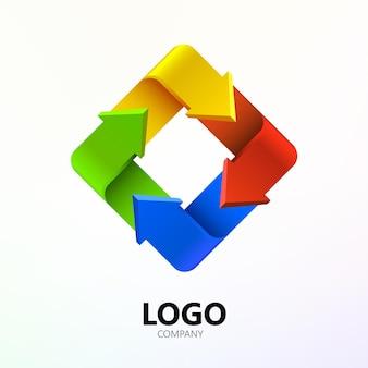 正方形のロゴの形をしたカラフルな矢印。会社のロゴタイプ