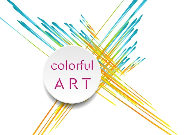 Красочный художественный фон с кругом и полосами. вектор яркий дизайн