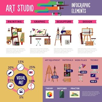 Colorful art studio infographic concept
