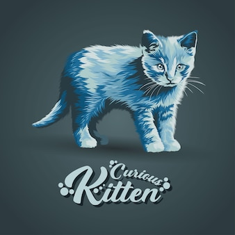 Colorful artwork illustration style of cute curious kitten