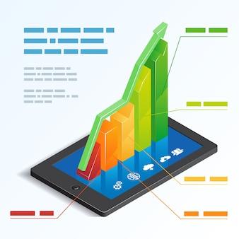 Grafico a barre 3d ascendente colorato su uno schermo attivabile al tatto della compressa che descrive l'analisi in linea mobile con un'illustrazione di vettore del modello della casella di testo