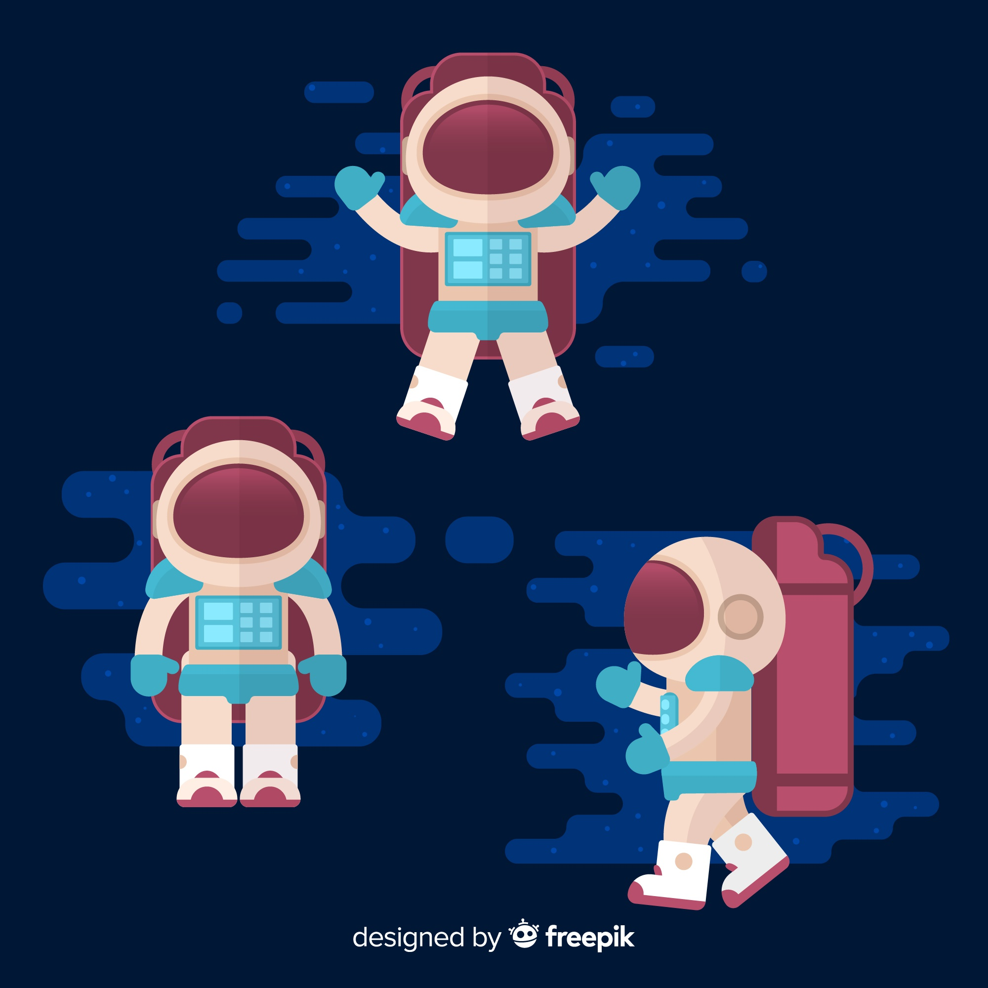 Colorful astronaut composition with flat design