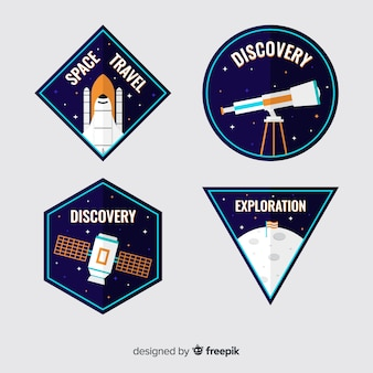 Colorful astronomic stickers collection