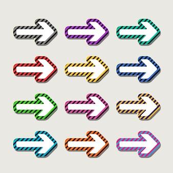 회색 배경에 고립 된 다채로운 매력적인 화살표 설정
