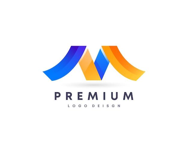 あなたのブランドのカラフルな魅力的なグラデーションスタイルの最初の文字mベクトルロゴデザインシンボル