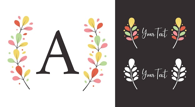 Colorful auntumn fall wreath laurel of leaf  elements for monogram logo or illustration design