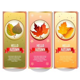 Colorful autumn banner collection with forest leaves