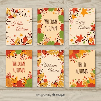 Colorful autumn cards set with leaves