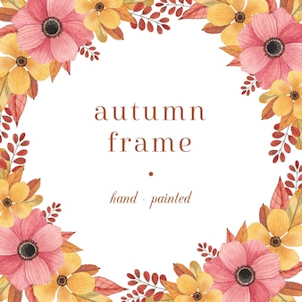 Colorful autumn frame with watercolor flowers and leaves