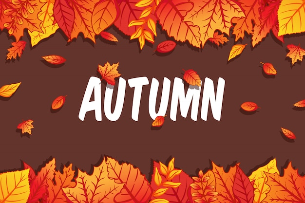 Colorful autumn leaves background with hand drawn style