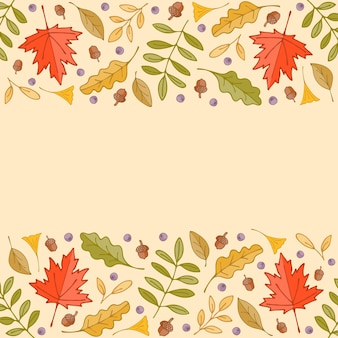 Colorful autumn leaves and berries border background