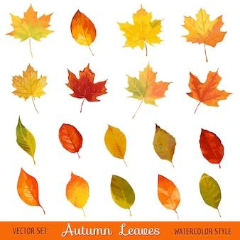 Красочные осенние листья - акварельный стиль