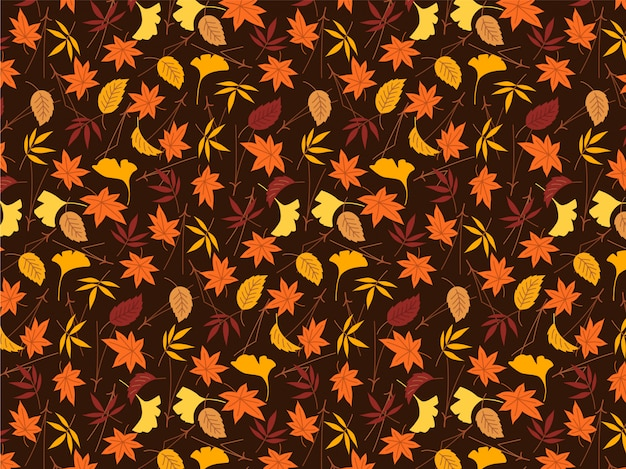Colorful autumn leaves pattern background