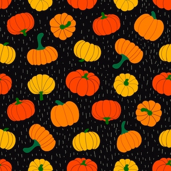 Colorful autumn leaves and pumpkins vector illustration