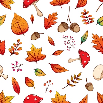 Colorful autumn leaves in seamless pattern with hand drawn style