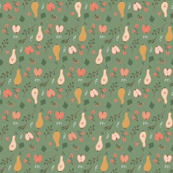Colorful autumn natural seamless pattern with fruits  pear and apple fall endless background flat ve...