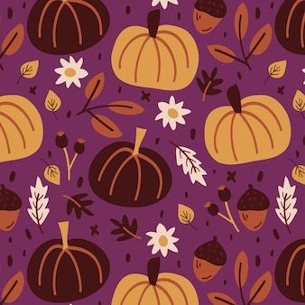 Colorful autumn pattern with pumpkins and leaves