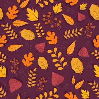 カラフルな秋のシームレスなパターン背景。