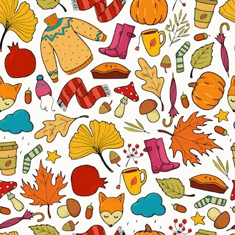 Colorful autumn seamless pattern with doodles