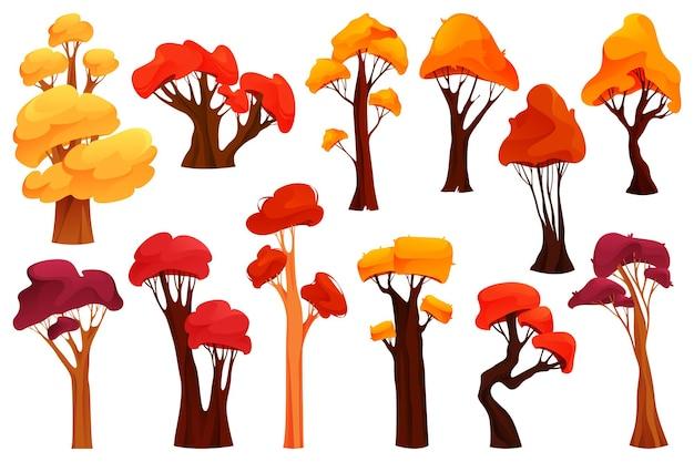 Colorful autumn trees flat design icon set